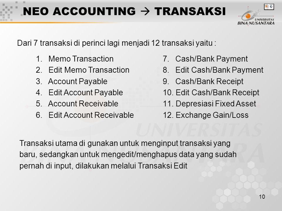 10 NEO ACCOUNTING  TRANSAKSI Dari 7 transaksi di perinci lagi menjadi 12 transaksi yaitu : 1. Memo Transaction 2. Edit Memo Transaction 3. Account Pa
