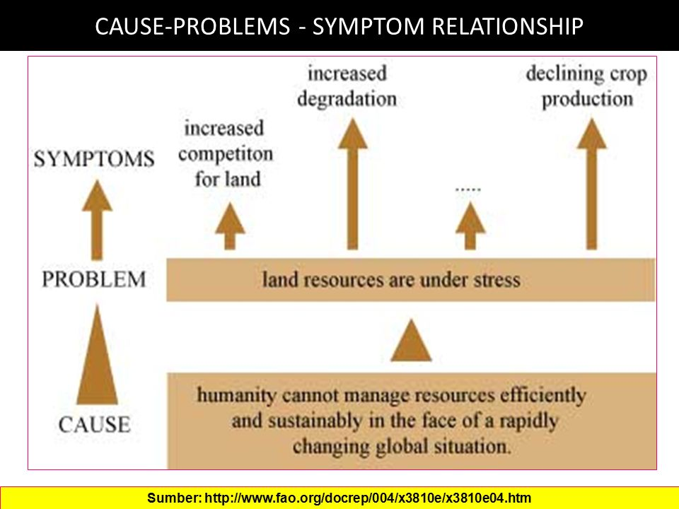 CAUSE-PROBLEMS - SYMPTOM RELATIONSHIP Sumber: http://www.fao.org/docrep/004/x3810e/x3810e04.htm