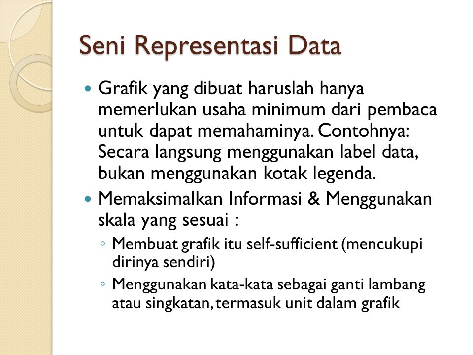 Seni Representasi Data Grafik yang dibuat haruslah hanya memerlukan usaha minimum dari pembaca untuk dapat memahaminya. Contohnya: Secara langsung men