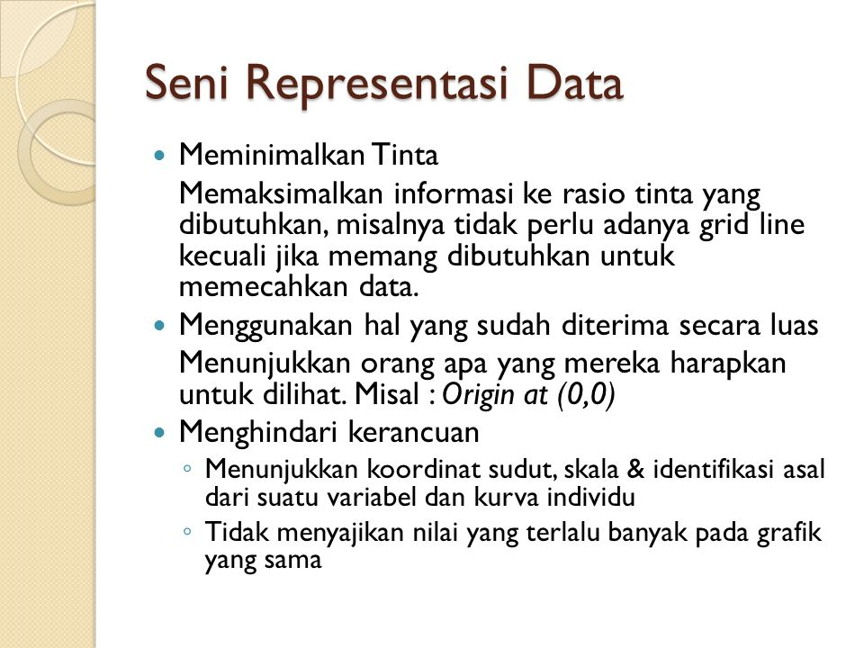 Seni Representasi Data Meminimalkan Tinta Memaksimalkan informasi ke rasio tinta yang dibutuhkan, misalnya tidak perlu adanya grid line kecuali jika m