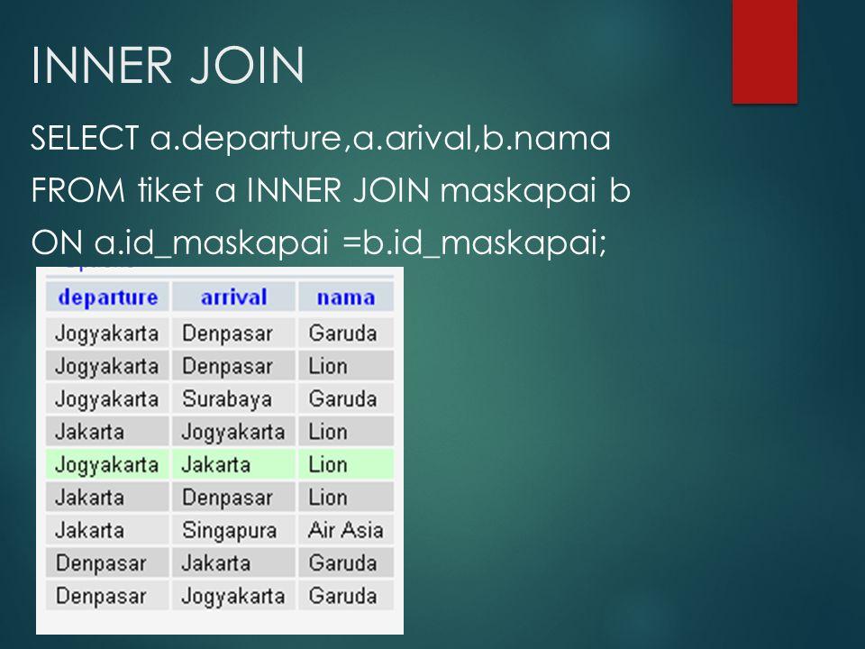 INNER JOIN SELECT a.departure,a.arival,b.nama FROM tiket a INNER JOIN maskapai b ON a.id_maskapai =b.id_maskapai;