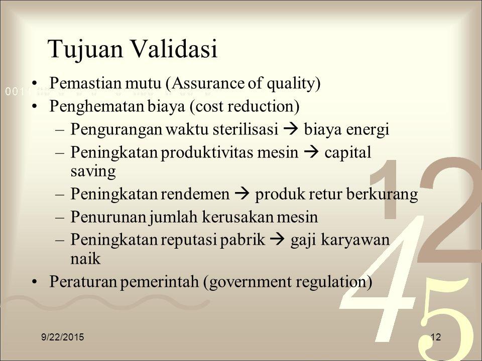 Tujuan Validasi Pemastian mutu (Assurance of quality) Penghematan biaya (cost reduction) –Pengurangan waktu sterilisasi  biaya energi –Peningkatan pr