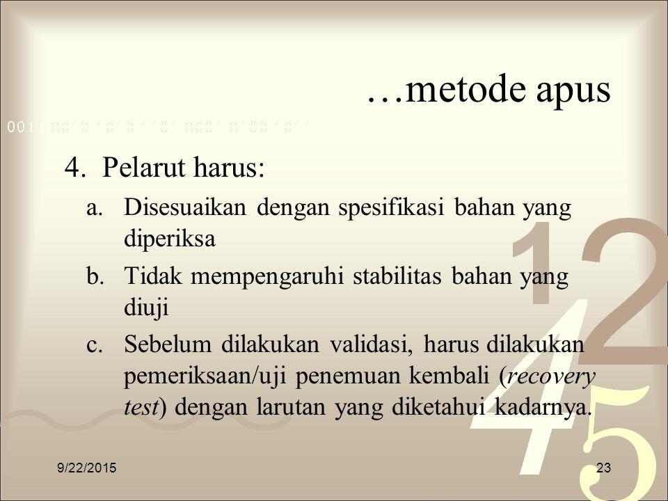 …metode apus 4.Pelarut harus: a.Disesuaikan dengan spesifikasi bahan yang diperiksa b.Tidak mempengaruhi stabilitas bahan yang diuji c.Sebelum dilakuk