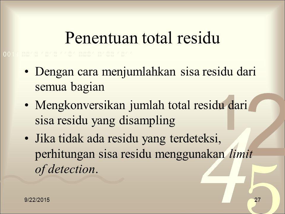 Penentuan total residu Dengan cara menjumlahkan sisa residu dari semua bagian Mengkonversikan jumlah total residu dari sisa residu yang disampling Jik