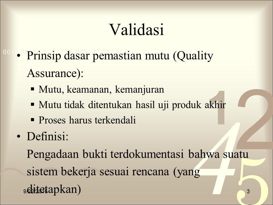 Validasi Prinsip dasar pemastian mutu (Quality Assurance):  Mutu, keamanan, kemanjuran  Mutu tidak ditentukan hasil uji produk akhir  Proses harus