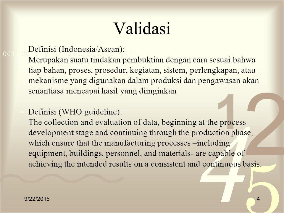 Validasi Definisi (Indonesia/Asean): Merupakan suatu tindakan pembuktian dengan cara sesuai bahwa tiap bahan, proses, prosedur, kegiatan, sistem, perl