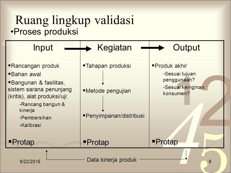 Ruang lingkup validasi Input  Rancangan produk  Bahan awal  Bangunan & fasilitas, sistem sarana penunjang (kritis), alat produksi/uji: -Rancang ban