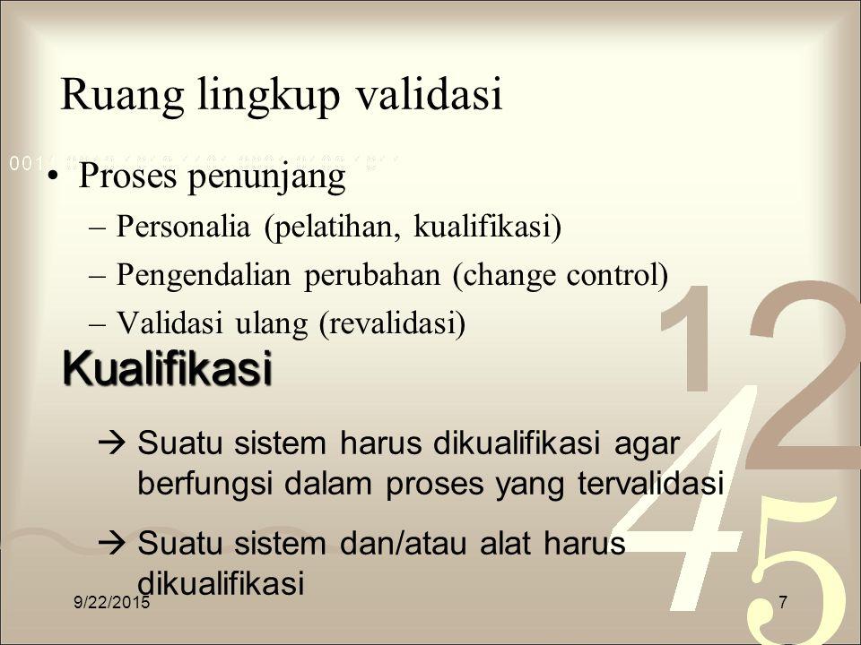 Ruang lingkup validasi Proses penunjang –Personalia (pelatihan, kualifikasi) –Pengendalian perubahan (change control) –Validasi ulang (revalidasi) 9/2