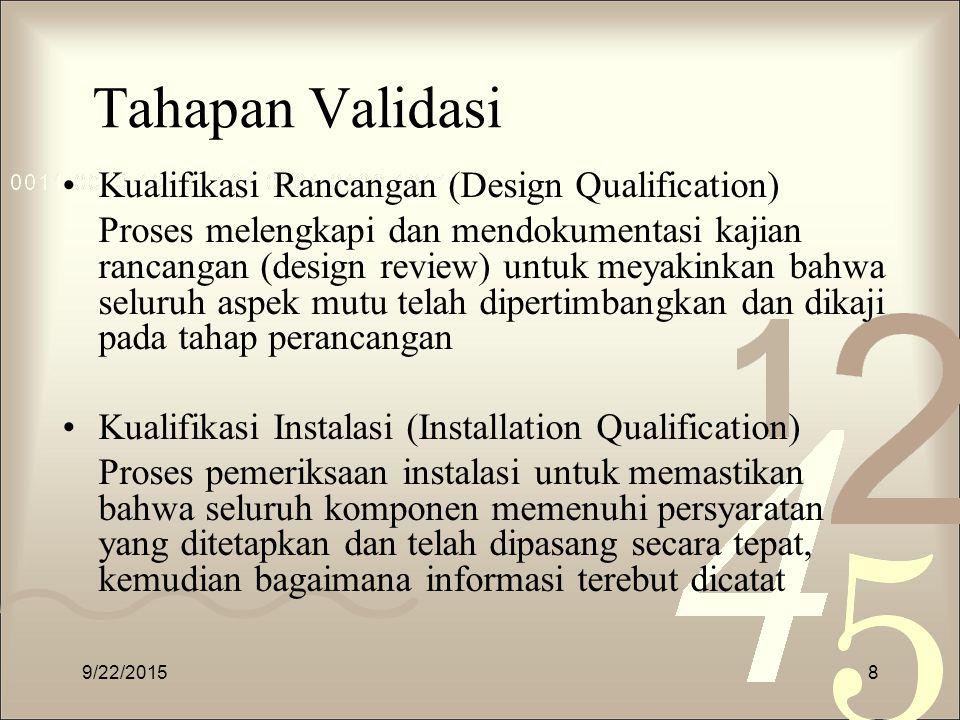 Tahapan Validasi Kualifikasi Rancangan (Design Qualification) Proses melengkapi dan mendokumentasi kajian rancangan (design review) untuk meyakinkan b