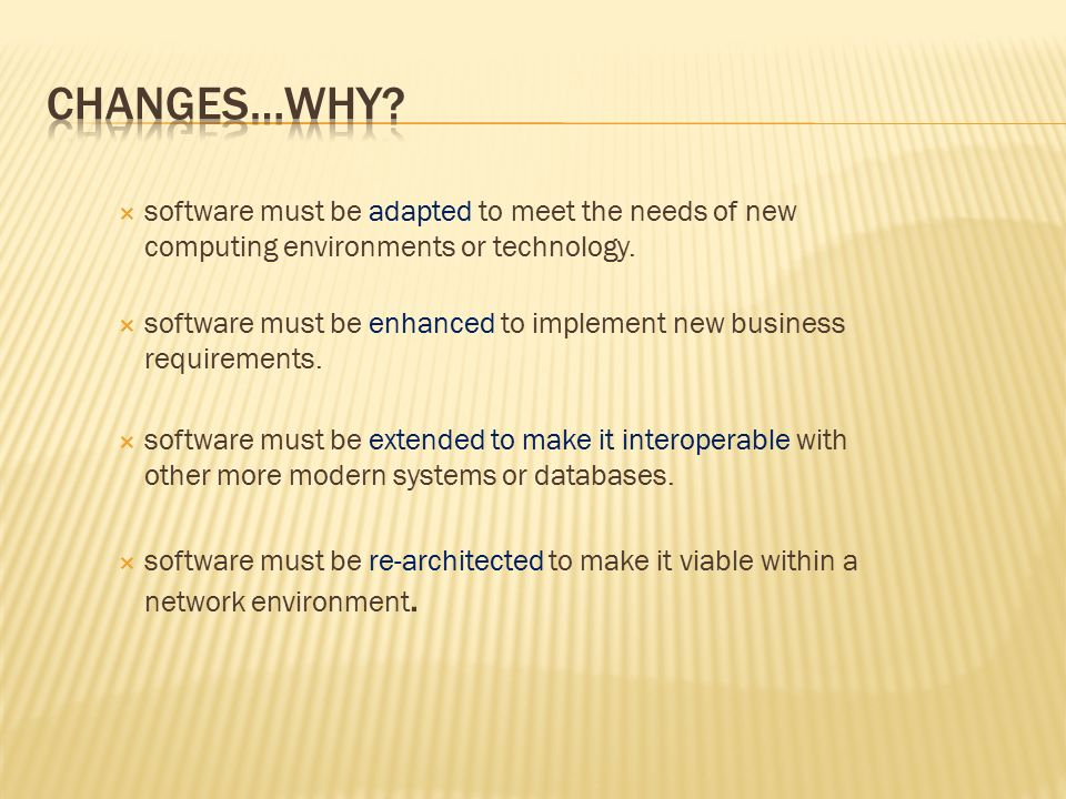  software must be adapted to meet the needs of new computing environments or technology.  software must be enhanced to implement new business requir