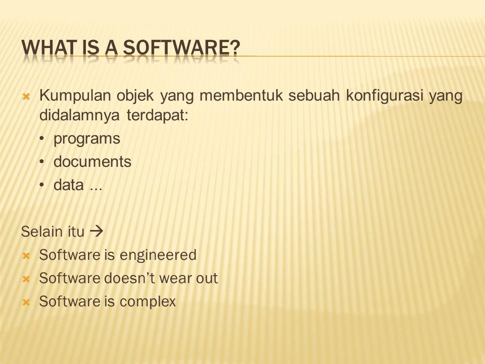 Kumpulan objek yang membentuk sebuah konfigurasi yang didalamnya terdapat: programs documents data... Selain itu   Software is engineered  Softwa