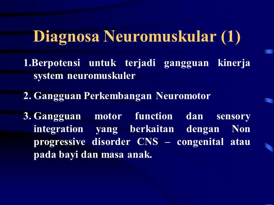 Diagnosa Musculoskeletal (3) 9.Gangguan mobilitas sendi, motor function, kinerja otot, dan ROM yang berkaitan dengan bedah tulang atau jaringan lunak.