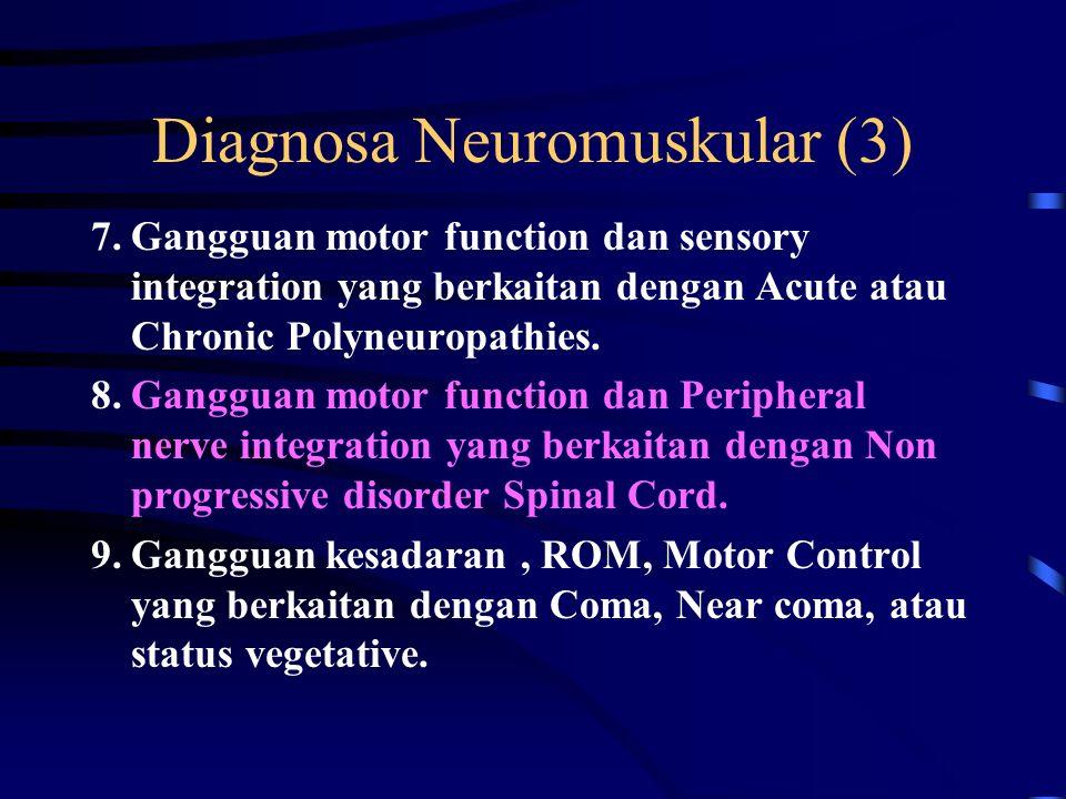 Diagnosa Neuromuskular (2) 4.Gangguan motor function dan sensory integration yang berkaitan dengan Non progressive disorder CNS – pada usia dewasa 5.Gangguan motor function dan sensory integration yang berkaitan dengan progressive disorder CNS 6.Gangguan Peripheral nerve integrity dan motor function yang berkaitan dengan Peripheral Nerve Injury.