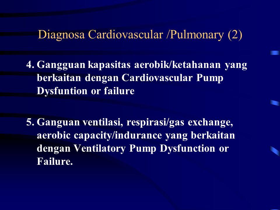 Diagnosa Cardiovascular /Pulmonary (1) 1.Berpotensi untuk terjadi gangguan kinerja system cardiovascular-pulmonary 2.Gangguan kapasitas aerobik/ketahanan yang berkaitan dengan decontioning syndrome 3.Ganguan ventilasi, respirasi/gas exchange, aerobic capacity/indurance yang berkaitan dengan Airways clearance dysfunction.