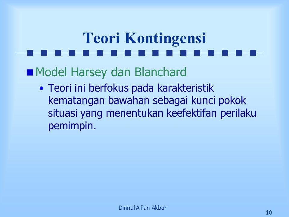 Dinnul Alfian Akbar 10 Teori Kontingensi Model Harsey dan Blanchard Teori ini berfokus pada karakteristik kematangan bawahan sebagai kunci pokok situasi yang menentukan keefektifan perilaku pemimpin.