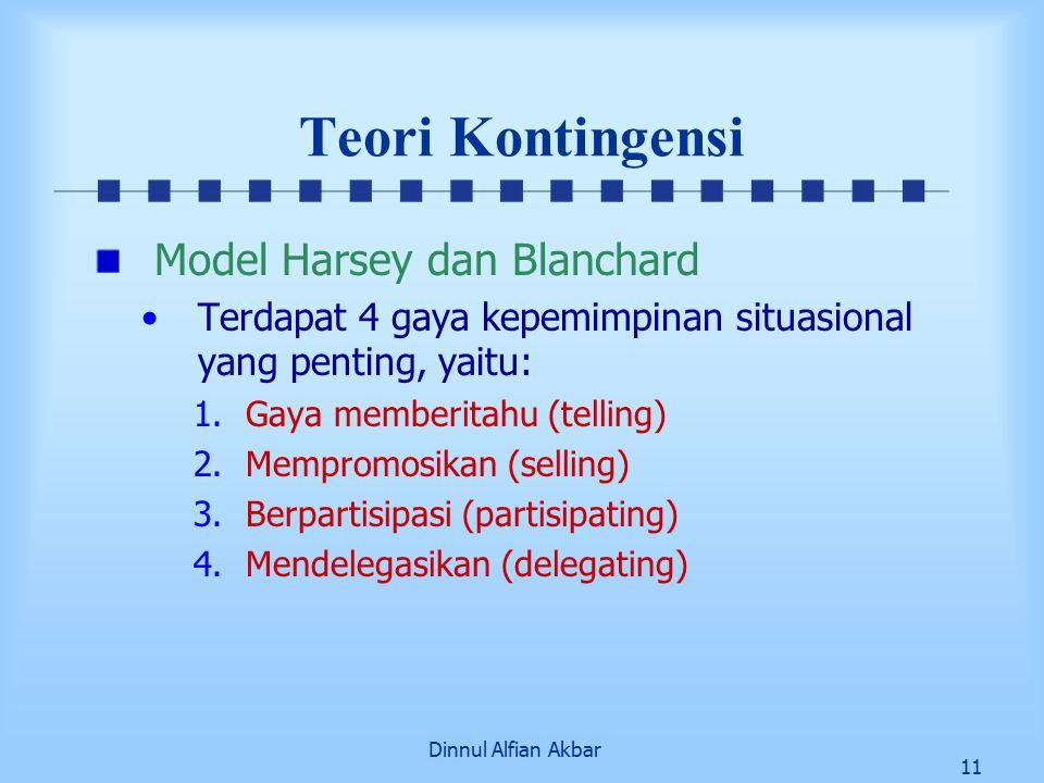 Dinnul Alfian Akbar 11 Teori Kontingensi Model Harsey dan Blanchard Terdapat 4 gaya kepemimpinan situasional yang penting, yaitu: 1.Gaya memberitahu (