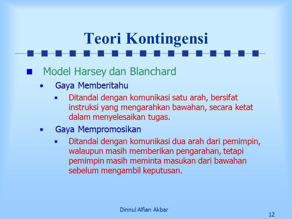 Dinnul Alfian Akbar 12 Teori Kontingensi Model Harsey dan Blanchard Gaya Memberitahu Ditandai dengan komunikasi satu arah, bersifat instruksi yang men