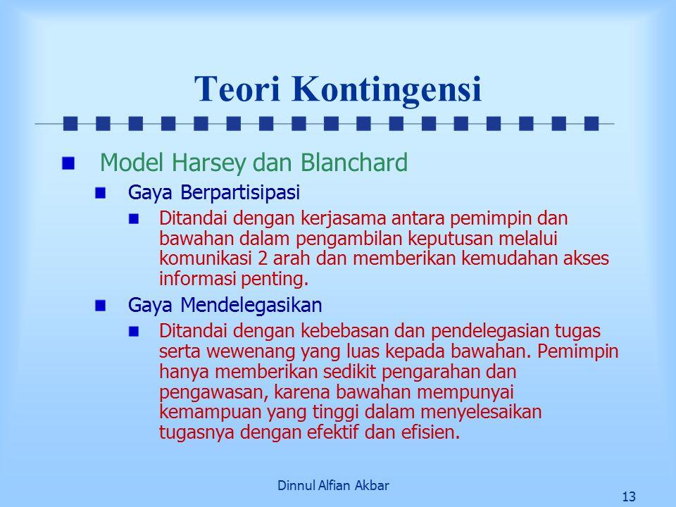 Dinnul Alfian Akbar 13 Teori Kontingensi Model Harsey dan Blanchard Gaya Berpartisipasi Ditandai dengan kerjasama antara pemimpin dan bawahan dalam pe