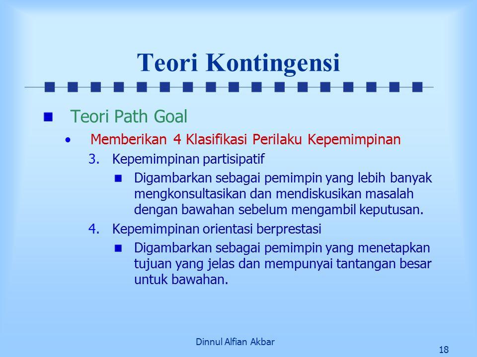 Dinnul Alfian Akbar 18 Teori Kontingensi Teori Path Goal Memberikan 4 Klasifikasi Perilaku Kepemimpinan 3.Kepemimpinan partisipatif Digambarkan sebaga