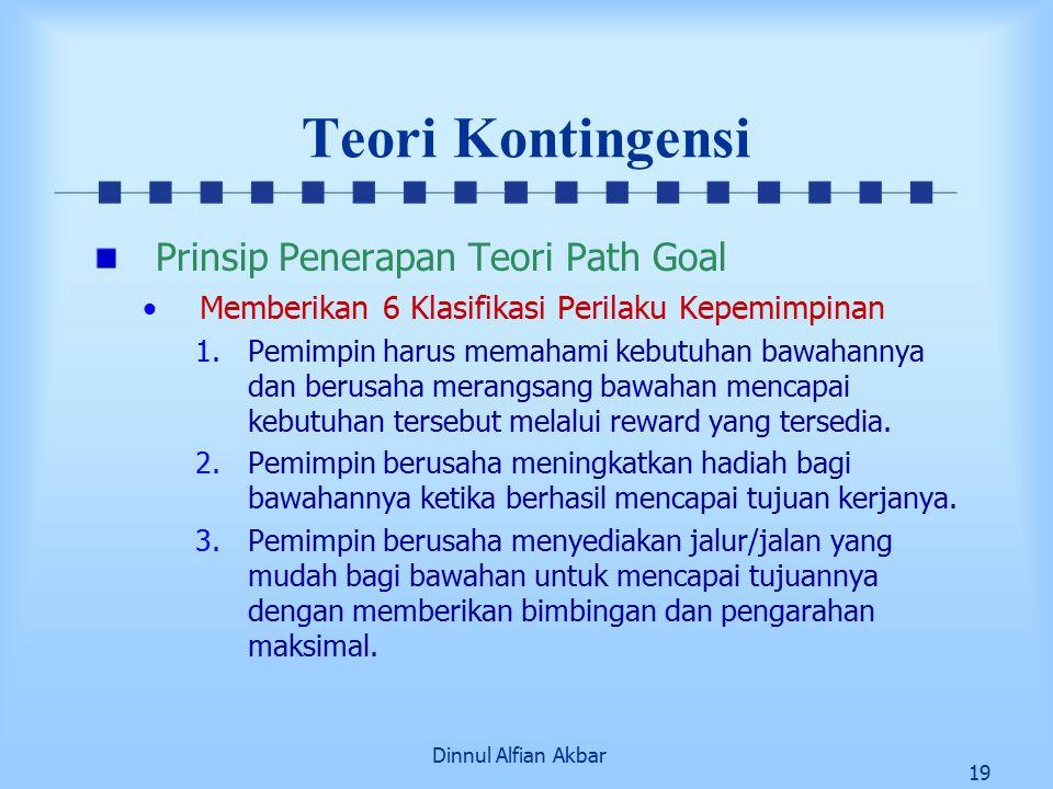 Dinnul Alfian Akbar 19 Teori Kontingensi Prinsip Penerapan Teori Path Goal Memberikan 6 Klasifikasi Perilaku Kepemimpinan 1.Pemimpin harus memahami ke