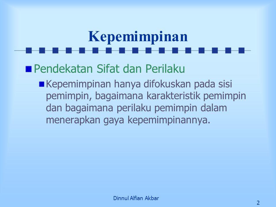 Dinnul Alfian Akbar 2 Kepemimpinan Pendekatan Sifat dan Perilaku Kepemimpinan hanya difokuskan pada sisi pemimpin, bagaimana karakteristik pemimpin dan bagaimana perilaku pemimpin dalam menerapkan gaya kepemimpinannya.
