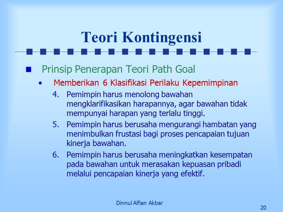 Dinnul Alfian Akbar 20 Teori Kontingensi Prinsip Penerapan Teori Path Goal Memberikan 6 Klasifikasi Perilaku Kepemimpinan 4.Pemimpin harus menolong ba