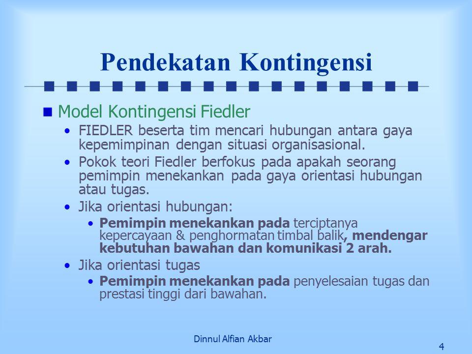Dinnul Alfian Akbar 4 Pendekatan Kontingensi Model Kontingensi Fiedler FIEDLER beserta tim mencari hubungan antara gaya kepemimpinan dengan situasi or