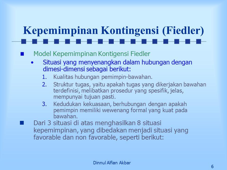 Dinnul Alfian Akbar 17 Teori Kontingensi Teori Path Goal Memberikan 4 Klasifikasi Perilaku Kepemimpinan 1.Kepemimpinan suportif Digambarkan sebagai pemimpin yang menunjukkan perhatian besar pada kesejahteraan dan pemenuhan kebutuhan bawahan.