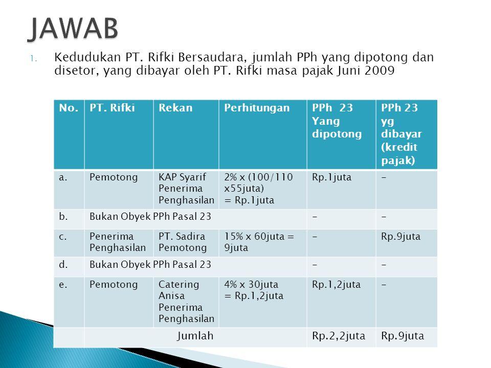  Berikut ini data transaksi Juni tahun 2009 PT. Rifki Bersaudara adalah produsen meubel dan furniture kantor : a.Tgl 7, membayar jasa pembukuan kepad