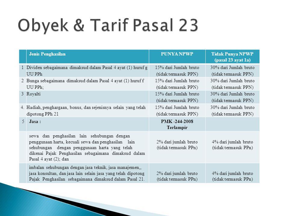 PAJAK PENGHASILAN PASAL 23/26 Pajak Penghasilan sehubungan dengan pekerjaan, jasa, dan kegiatan yang dilakukan oleh Wajib Pajak Badan, Berupa : WP BAD