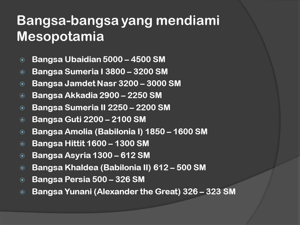 Bangsa-bangsa yang mendiami Mesopotamia  Bangsa Ubaidian 5000 – 4500 SM  Bangsa Sumeria I 3800 – 3200 SM  Bangsa Jamdet Nasr 3200 – 3000 SM  Bangsa Akkadia 2900 – 2250 SM  Bangsa Sumeria II 2250 – 2200 SM  Bangsa Guti 2200 – 2100 SM  Bangsa Amolia (Babilonia I) 1850 – 1600 SM  Bangsa Hittit 1600 – 1300 SM  Bangsa Asyria 1300 – 612 SM  Bangsa Khaldea (Babilonia II) 612 – 500 SM  Bangsa Persia 500 – 326 SM  Bangsa Yunani (Alexander the Great) 326 – 323 SM
