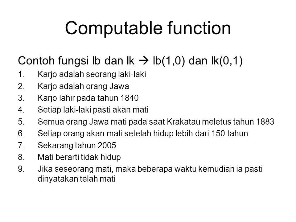 Computable function Contoh fungsi lb dan lk  lb(1,0) dan lk(0,1) 1.Karjo adalah seorang laki-laki 2.Karjo adalah orang Jawa 3.Karjo lahir pada tahun