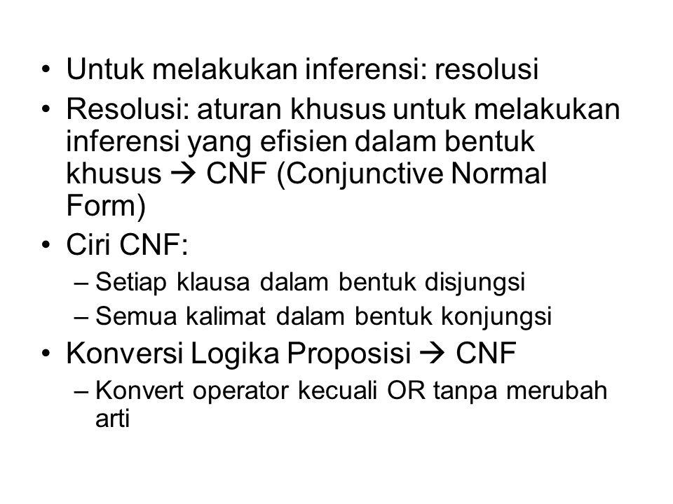 Untuk melakukan inferensi: resolusi Resolusi: aturan khusus untuk melakukan inferensi yang efisien dalam bentuk khusus  CNF (Conjunctive Normal Form)