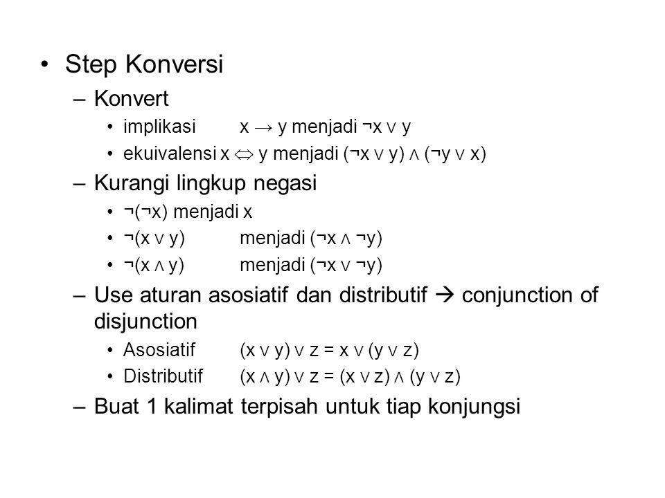 Step Konversi –Konvert implikasi x → y menjadi ¬x V y ekuivalensi x  y menjadi (¬x V y) Λ (¬y V x) –Kurangi lingkup negasi ¬(¬x) menjadi x ¬(x V y)me