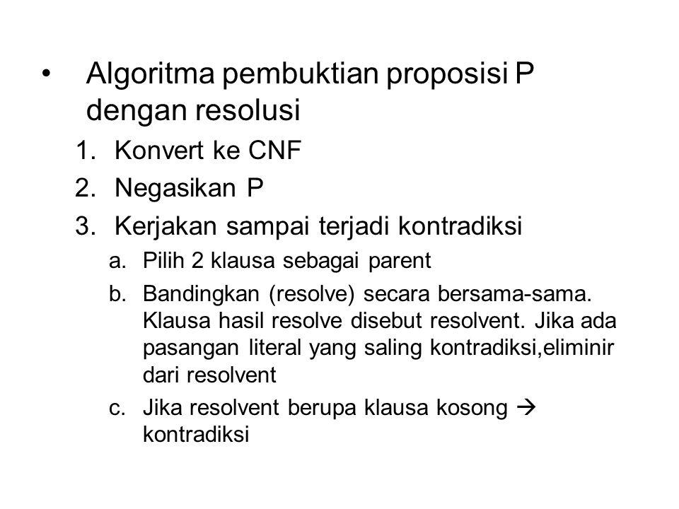 Algoritma pembuktian proposisi P dengan resolusi 1.Konvert ke CNF 2.Negasikan P 3.Kerjakan sampai terjadi kontradiksi a.Pilih 2 klausa sebagai parent