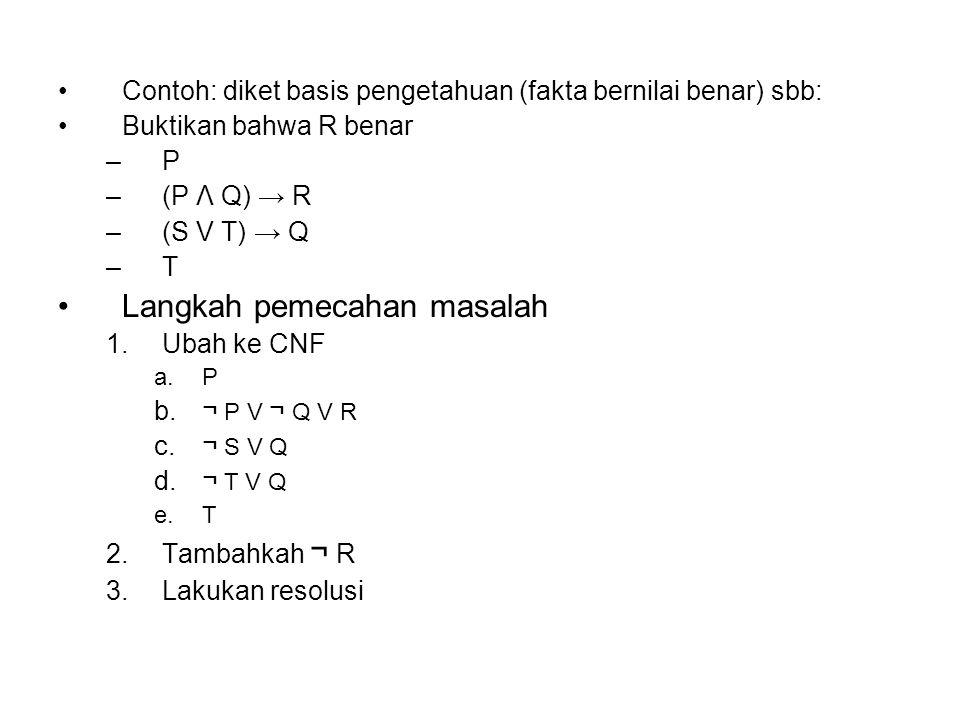 Contoh: diket basis pengetahuan (fakta bernilai benar) sbb: Buktikan bahwa R benar –P –(P Λ Q) → R –(S V T) → Q –T Langkah pemecahan masalah 1.Ubah ke