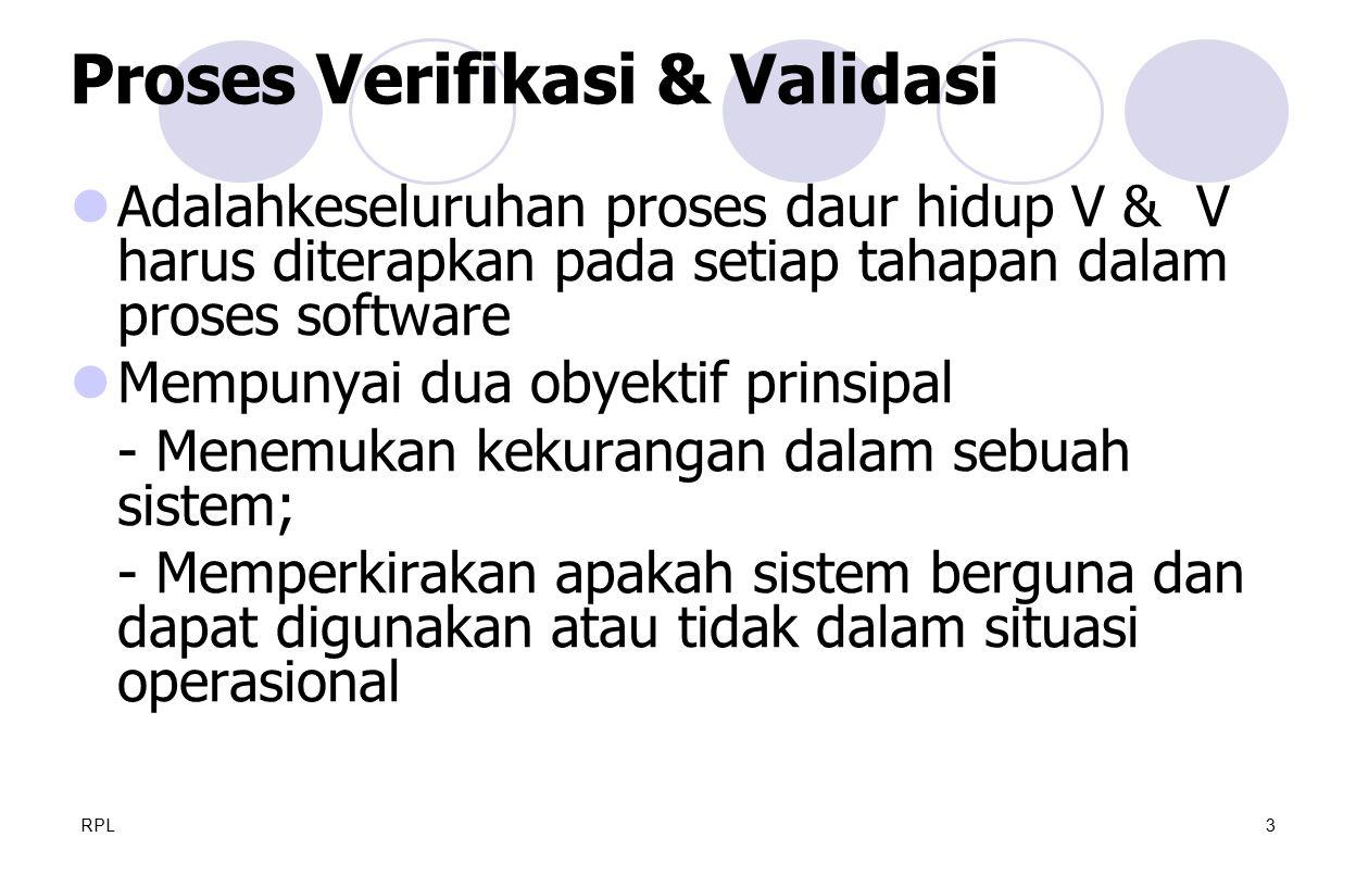 RPL14 Proses testing - Deskripsi fase-fase utama dalam pengujian Pelacakan Kebutuhan - Semua kebutuhan user diuji secara individu Item yg diuji - Menspesifikasi komponen sistem yang diuji Jadual testing Prosedur Pencatatan Hasil dan Prosedur Kebutuhan akan Hardware dan Software Kendala-kendala - Mis: kekurangan staff, alat, waktu dll.