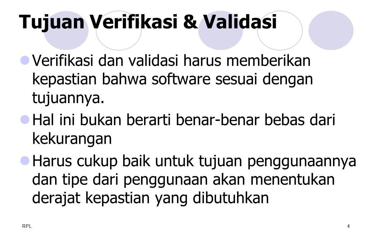 RPL4 Verifikasi dan validasi harus memberikan kepastian bahwa software sesuai dengan tujuannya. Hal ini bukan berarti benar-benar bebas dari kekuranga