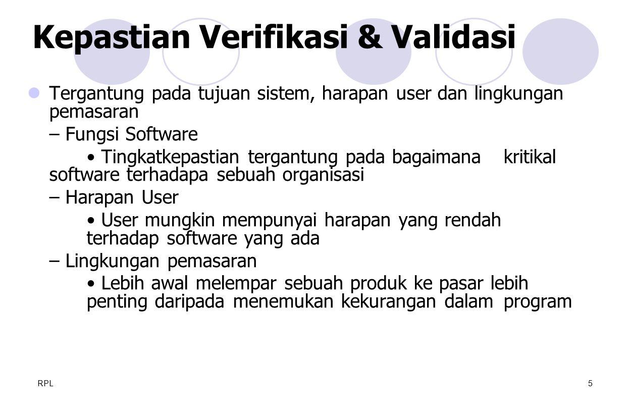 RPL5 Tergantung pada tujuan sistem, harapan user dan lingkungan pemasaran – Fungsi Software Tingkatkepastian tergantung pada bagaimana kritikal softwa