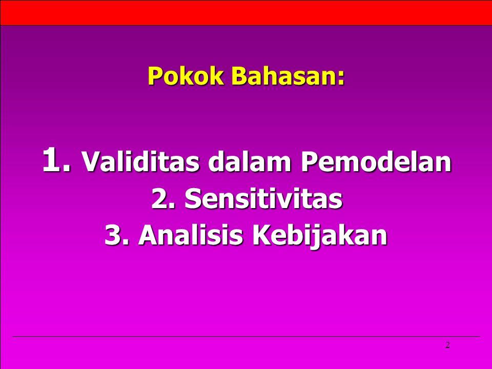 2 Pokok Bahasan: 1. Validitas dalam Pemodelan 2. Sensitivitas 3. Analisis Kebijakan