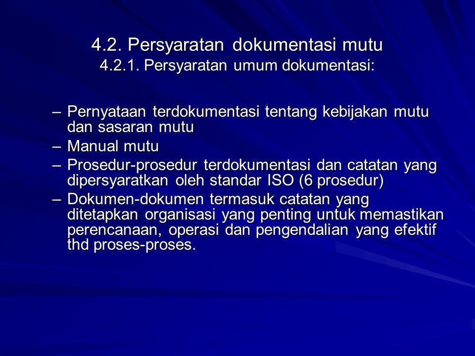 4.2. Persyaratan dokumentasi mutu 4.2.1. Persyaratan umum dokumentasi: –Pernyataan terdokumentasi tentang kebijakan mutu dan sasaran mutu –Manual mutu
