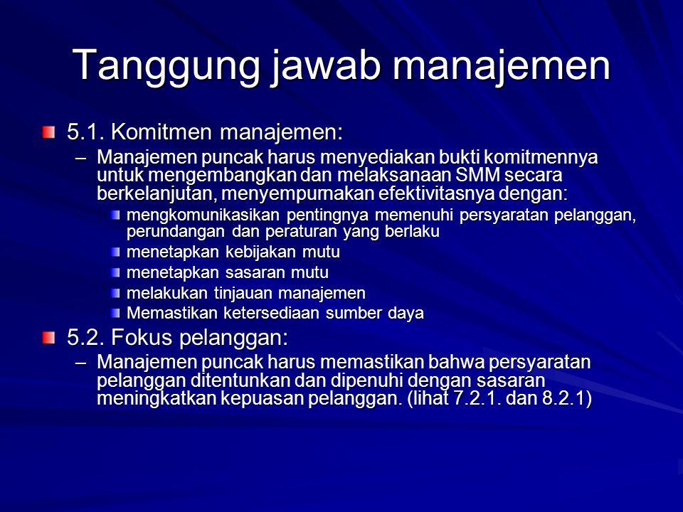 Tanggung jawab manajemen 5.1. Komitmen manajemen: –Manajemen puncak harus menyediakan bukti komitmennya untuk mengembangkan dan melaksanaan SMM secara