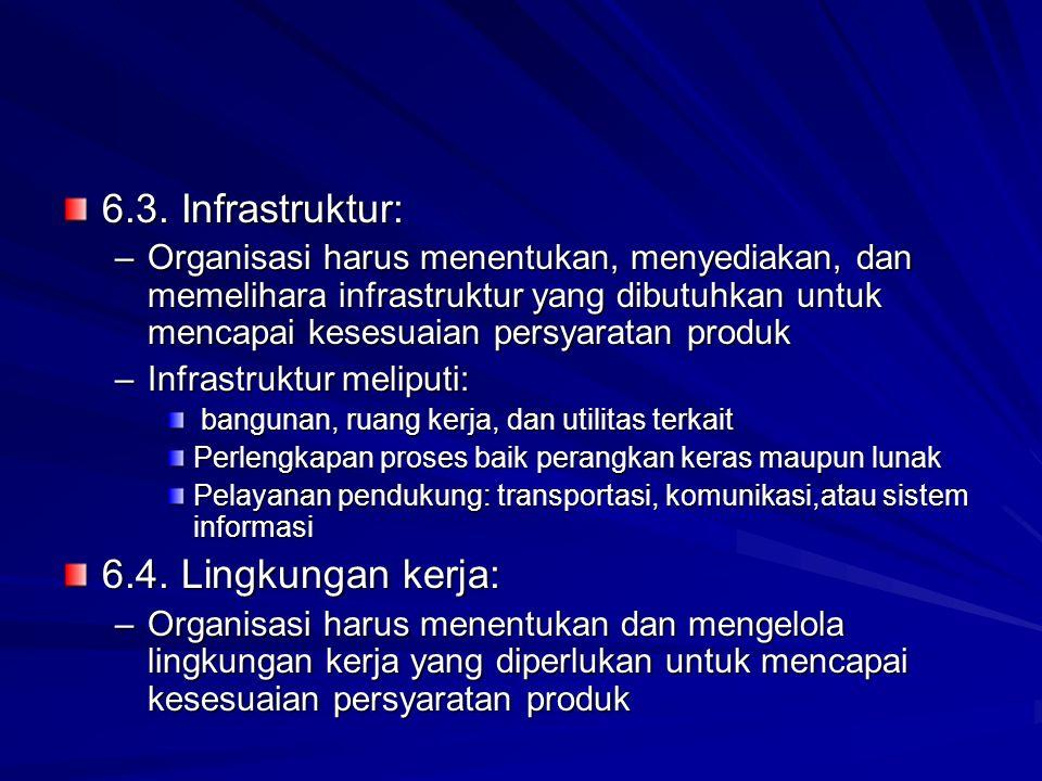 6.3. Infrastruktur: –Organisasi harus menentukan, menyediakan, dan memelihara infrastruktur yang dibutuhkan untuk mencapai kesesuaian persyaratan prod