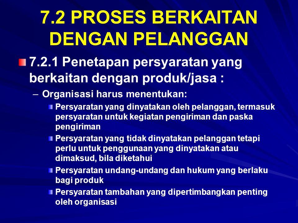 7.2 PROSES BERKAITAN DENGAN PELANGGAN 7.2.1 Penetapan persyaratan yang berkaitan dengan produk/jasa : – –Organisasi harus menentukan: Persyaratan yang