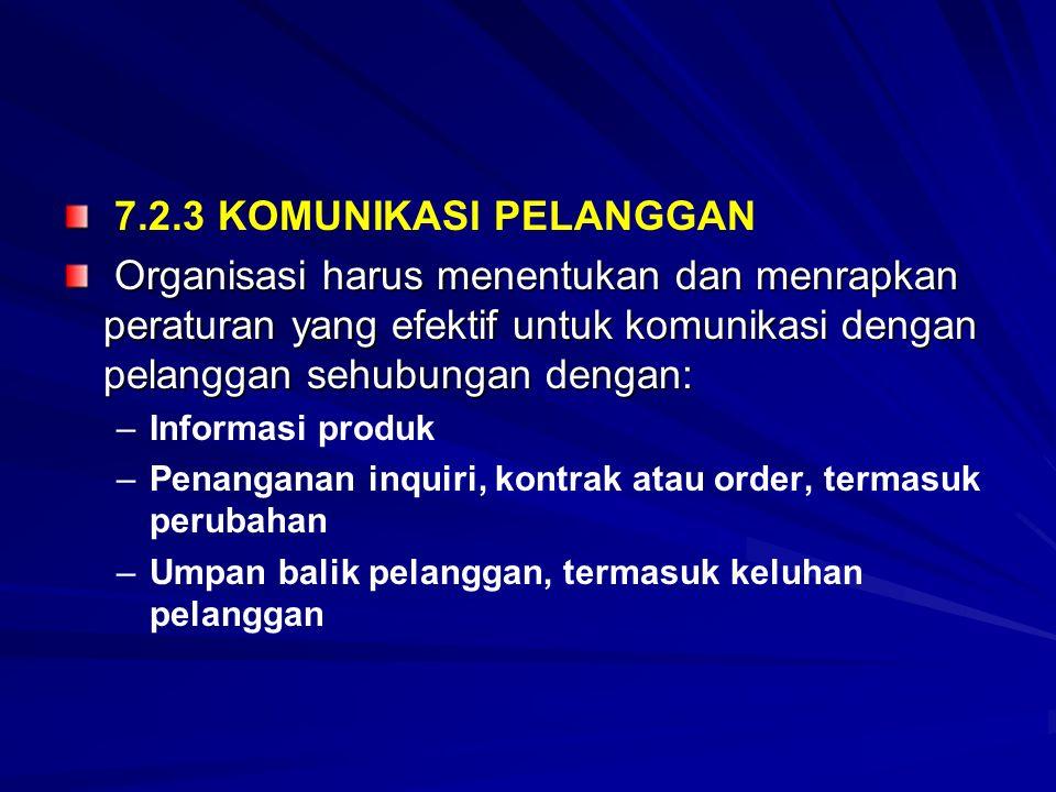 7.2.3 KOMUNIKASI PELANGGAN Organisasi harus menentukan dan menrapkan peraturan yang efektif untuk komunikasi dengan pelanggan sehubungan dengan: Organ