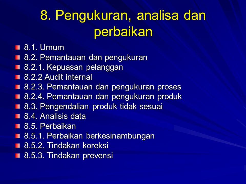 8. Pengukuran, analisa dan perbaikan 8.1. Umum 8.2. Pemantauan dan pengukuran 8.2.1. Kepuasan pelanggan 8.2.2 Audit internal 8.2.3. Pemantauan dan pen