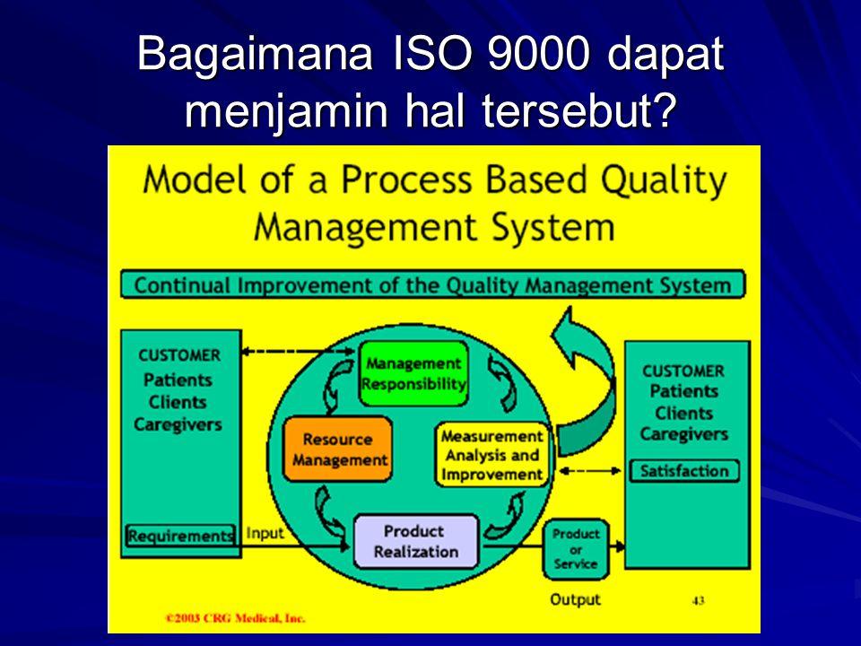 Struktur standar sistem manajemen mutu ISO 9001:2000 Business process S – P – O Customer Needs Requirement Expectation Customer Needs Requirement Expectation 4 Sistem Manajemen Mutu 6 Manajemen Sumber daya 5 Tanggung jawab Manajemen 8 Pengukuran, analsis Dan perbaikan 7 Realisasi Produk Dimana 1, 2, dan 3 ???