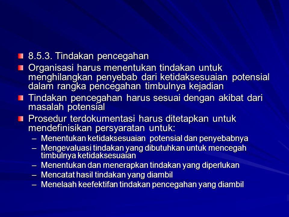 8.5.3. Tindakan pencegahan Organisasi harus menentukan tindakan untuk menghilangkan penyebab dari ketidaksesuaian potensial dalam rangka pencegahan ti