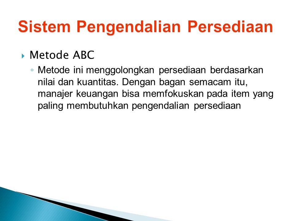  Metode ABC ◦ Metode ini menggolongkan persediaan berdasarkan nilai dan kuantitas. Dengan bagan semacam itu, manajer keuangan bisa memfokuskan pada i