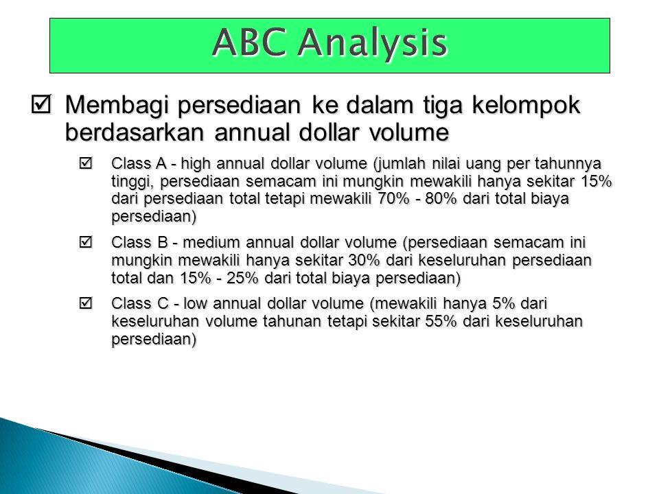  Membagi persediaan ke dalam tiga kelompok berdasarkan annual dollar volume  Class A - high annual dollar volume (jumlah nilai uang per tahunnya tin